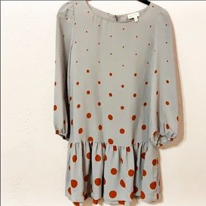 Meadow Rue Anthro Drop Waist Dress Polka Dot Sz 2